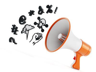 Megaphone with swearing symbols isolated on white background. 3D illustration
